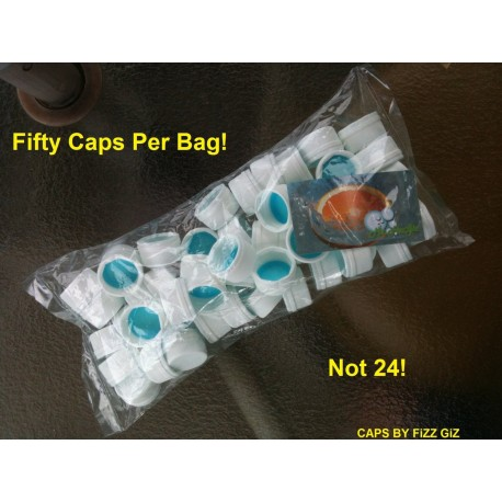 28mm Plastic Screw Caps for PET Bottle, bag of 50 Sneaky Alcohol Caps Reseal Your Bottles Perfectly